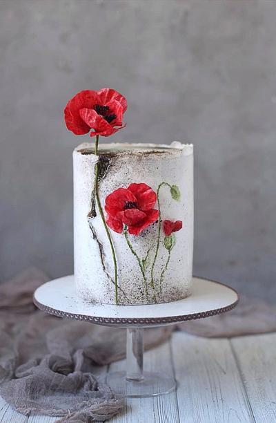 Poppy, wafer paper flowers - Cake by Golumbevskaya Olesya