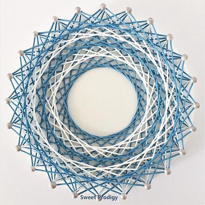 Blue and White String Art | Sweet Prodigy - Cake by Sweet Prodigy