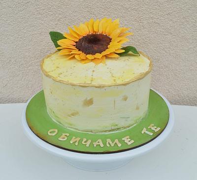 Sunflower gum paste flower on cake - Cake by StelaKoleva