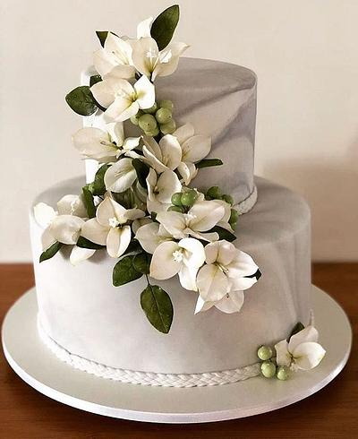 Marble and Bougainvilleas - Cake by Carol Pato