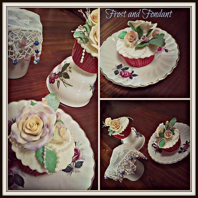 Vintage Tea Rose Cupcakes - Cake by Sharon Frost