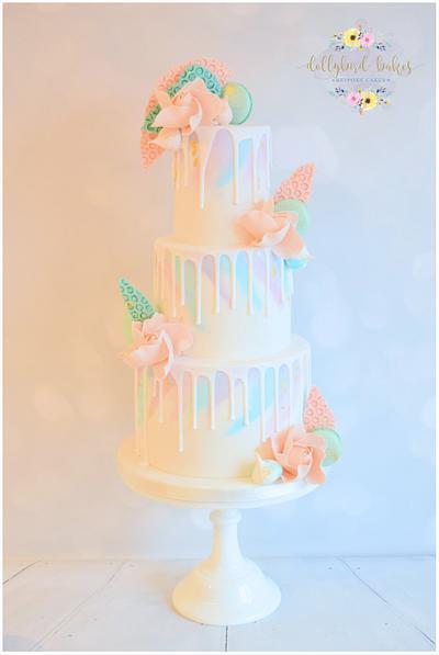 Watercolour wedding drip cake - Cake by Dollybird Bakes