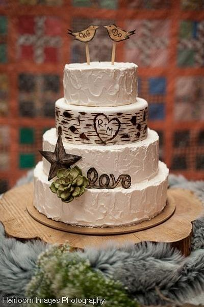 Rustic Buttercream and Birch Wedding Cake with Gumpaste Accents - Cake by Sweet and Swanky Cakes ~ Sonja McLean