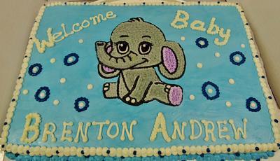 100% buttercream Baby boy elephant - Cake by Nancys Fancys Cakes & Catering (Nancy Goolsby)