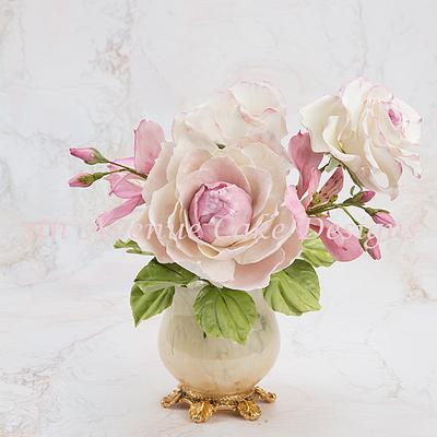 Flower Paste Peony For A Romantic Spray - Cake by Bobbie