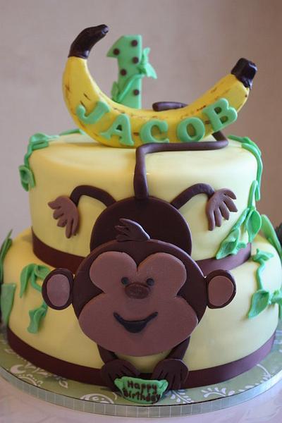 1st Birthday Monkey Cake - Cake by Pam and Nina's Crafty Cakes