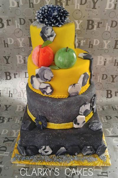 "Hexagon Tiles...Concrete & Fruit - Cake by June (""Clarky's Cakes"")"