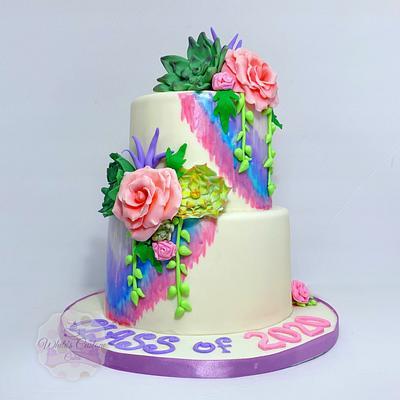 Floral Graduation  - Cake by Sabrina - White's Custom Cakes
