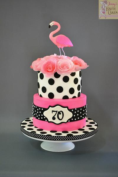 Pink Flamingo and Polka Dots - Cake by Jenny Kennedy Jenny's Haute Cakes