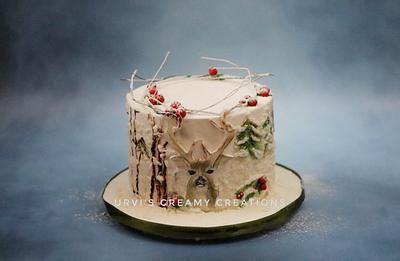 Deer in snow - Cake by Urvi Zaveri