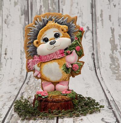 Helen the Valentine Hedgehog on a Tree Trunk Cookie Box - Cake by Bobbie