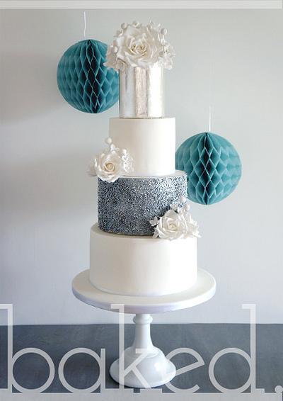 Silver Rose Winter Wedding Cake - Cake by Helena, Baked Cupcakery