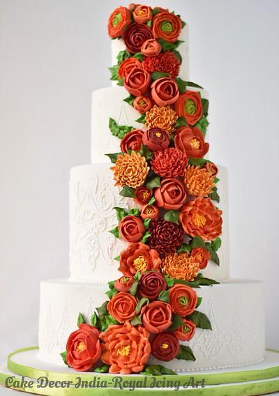 Wedding cake with Royal Icing flowers - Cake by Prachi Dhabaldeb