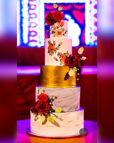 Wedding cake with Red roses - Cake by Urvi Zaveri