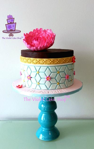 SEMI-NAKED Ganache with Hot Pink Peony - Cake by Violet - The Violet Cake Shop™