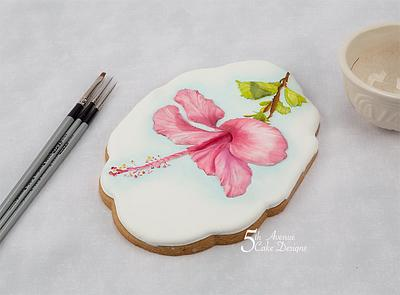 Hibiscus Flower Cookie 🌺🍃🎥 - Cake by Bobbie