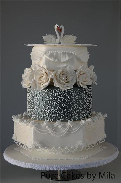 Swans Royal Icing Wedding Cake - Cake by Mila - Pure Cakes by Mila