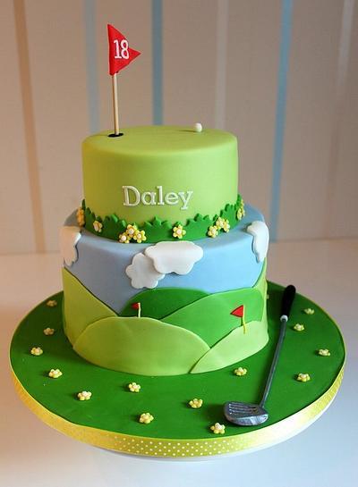 Golf themed cake for my boyfriends birthday - Cake by Strawberry Lane Cake Company