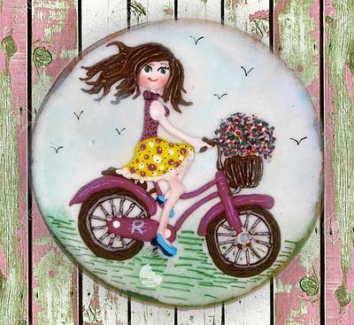 Girl on a bike cookie - Cake by Rocío Burgos