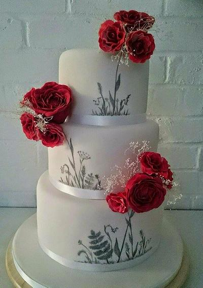 Red and white handpainted wedding cake - Cake by Cakes By Heather Jane