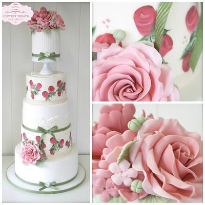 Hand Painted Vintage Wedding Cake - Cake by cjsweettreats