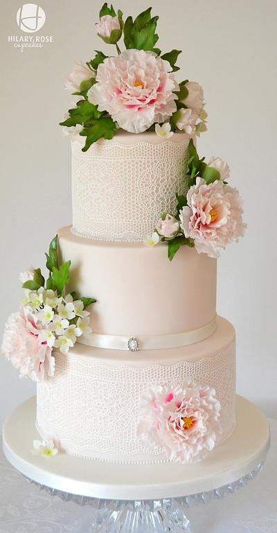 Pink Peony and Lace - Cake by Hilary Rose Cupcakes