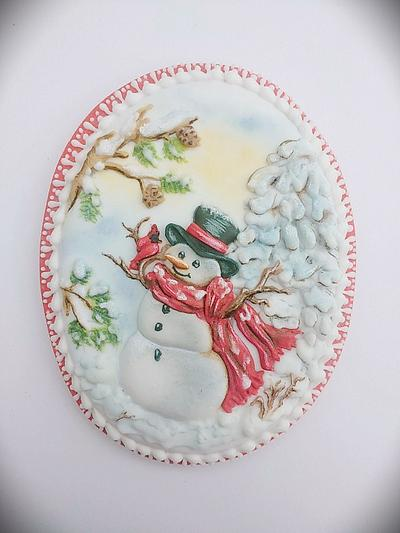 Christmas Snowman with a bird   - Cake by Cookies by Joss