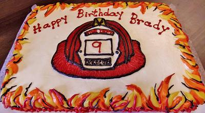 Firemans hat cake in Buttercream with flames! - Cake by Nancys Fancys Cakes & Catering (Nancy Goolsby)