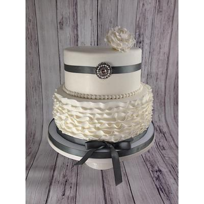 Silver and White Ruffle Cake - Cake by sweetonyou