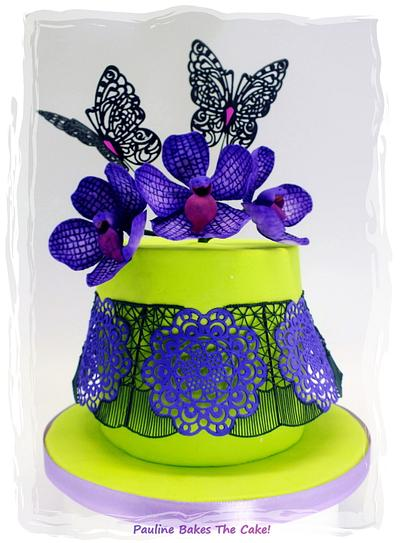 """Polly's Violet Vanda & Black Lace Stringwork Cake for """"SUPER CAKE MOMS COLLABORATION"""" - Cake by Pauline Soo (Polly) - Pauline Bakes The Cake!"""