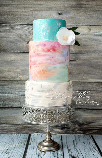 Watercolour Love - Cake by Hazel Wong Cake Design