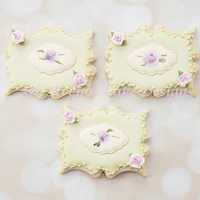 Hand Painted Rose Plaque Cookies - Cake by Bobbie