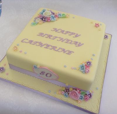 Pretty 80th cake - Cake by Deborah Cubbon (the4manxies)