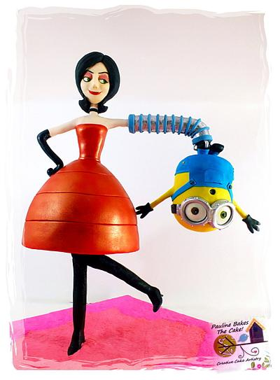 Gravity Defying Structured Cake : Upside Down Bob Minion & Scarlet Overkill! - Cake by Pauline Soo (Polly) - Pauline Bakes The Cake!