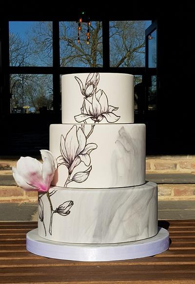 Magnolia and marble - Cake by hscakedesign