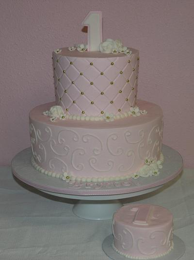 Pink and gold 1st birthday - Cake by Jeana Millan