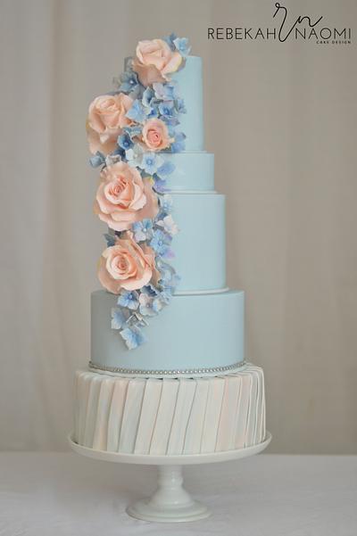 Peach and Blue Wedding Cake - Cake by Rebekah Naomi Cake Design