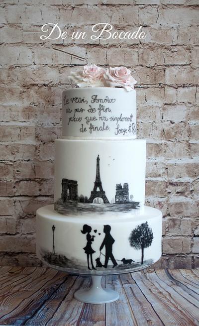 Hand painted Paris cake  - Cake by Carmen