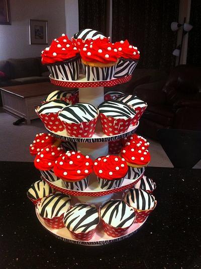 Polka Dot Zebra Cup Cakes - Cake by Jenny Kennedy Jenny's Haute Cakes