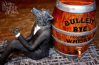 Rye Whiskey Barrel & a Wolf in a Tux - Cake by Very Unique Cakes by Veronique