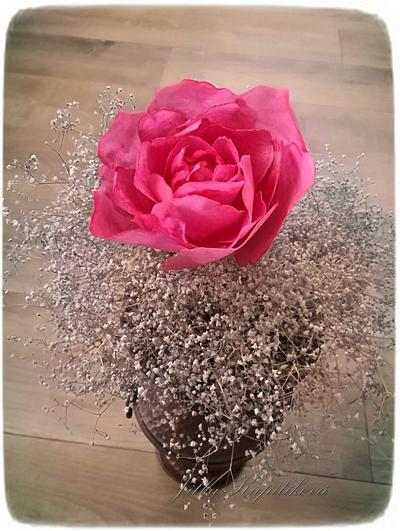 Růže z jedlého papíru - Cake by Jitka