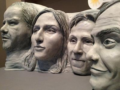 Mount Rushmore shaped cake of comedian's faces - Cake by Natalie Sideserf