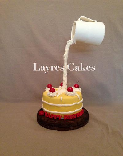 Gravity defying cake and cream! - Cake by Layres Cakes