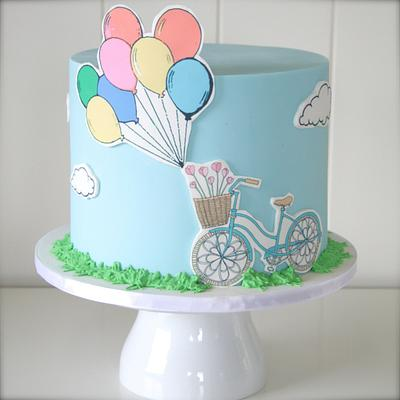 Bicycles & Balloons - Cake by cjsweettreats