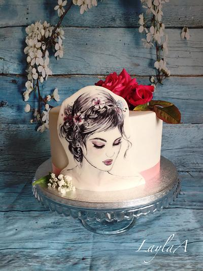 Hand painted girl - Cake by Layla A