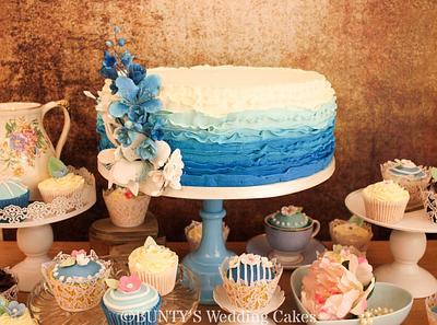 Ombre Buttercream Ruffle - Cake by Bunty's Wedding Cakes