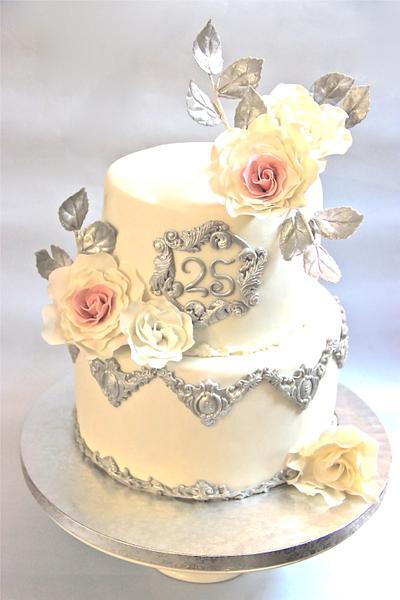 Silver wedding anniversary - Cake by Sugar Stories