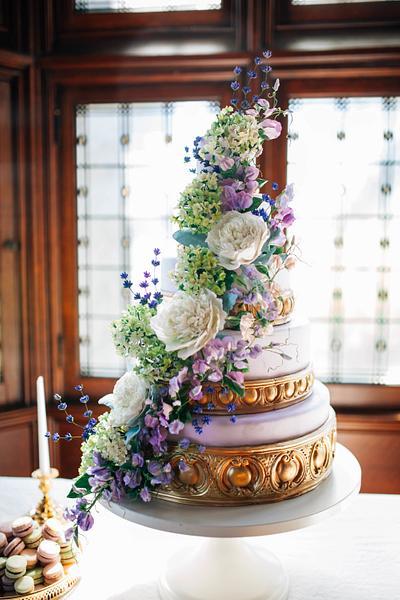 Purple Sugar Flower Wedding Cake I Spring Wedding Cake - Cake by Alex Narramore (The Mischief Maker)