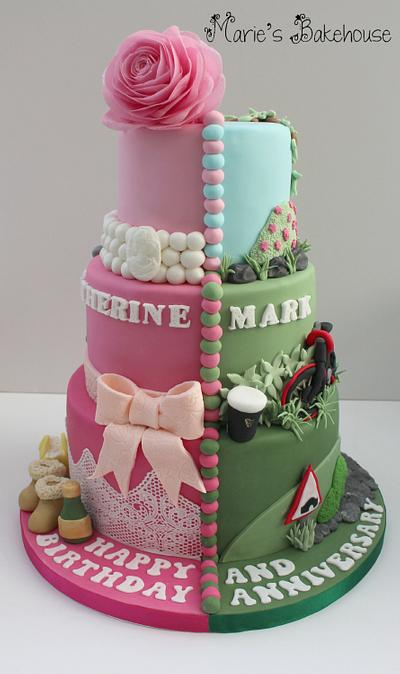 Birthday and Anniversary Split Cake - Cake by Marie's Bakehouse