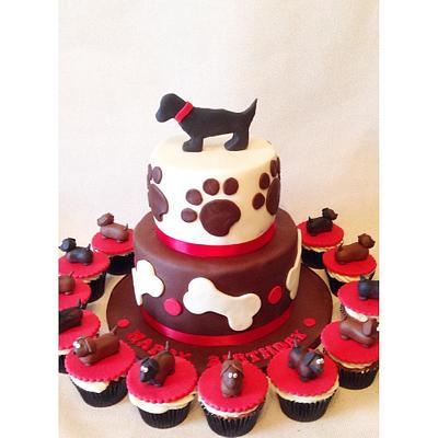 Dachshund cake and cupcakes! - Cake by Beth Evans